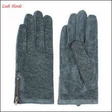 fashion ladies back dark green fabric and palm sheep suede gloves with side zipper