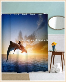 Latest curtain design digital printing high quality 96 inch shower curtain