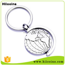 Make your own logo custom metal strape rotating GLOBE key Ring key holder Keychain