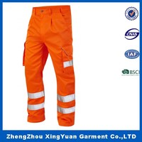 Construction Work Cargo Reflective Safety Trousers Poly/cotton Multifuctional Fluorescent Working pants