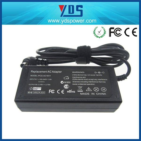 honor electronic switching adapter 16v 3.75a 60w 6.5*4.4 black with pin inside ahead ac adaptor