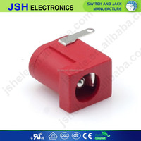 3.5*1.35 black 3pins dc power jack red dc005
