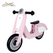 "10"" Cute Pink Wooden Balance Running Bike Scooter for Children with no pedal"