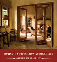 2014 hot sale japanese style interior temporary aluminum folding doors with grill design