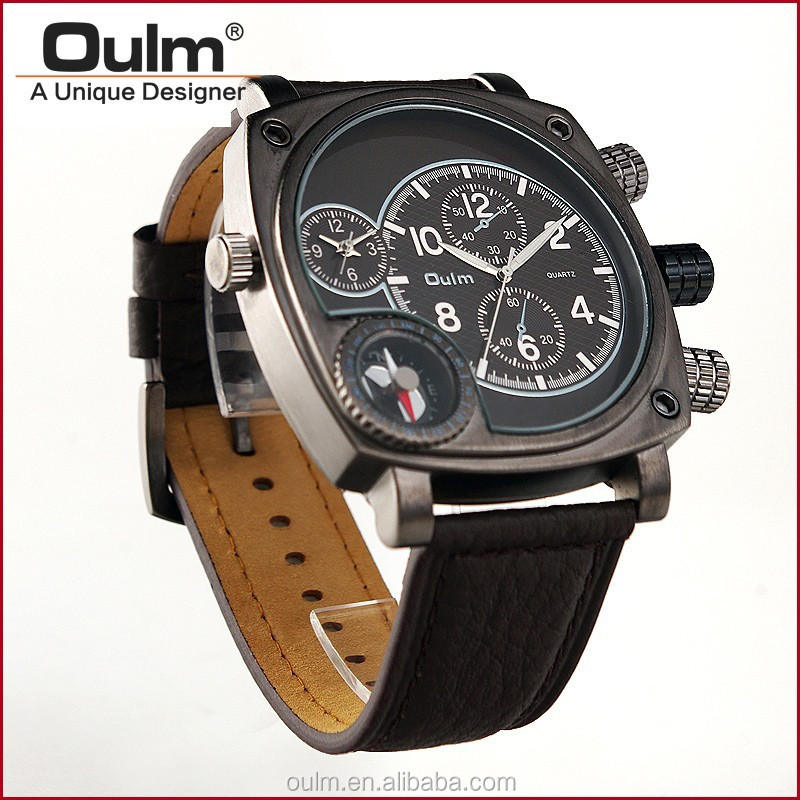 Oulm genuine leather watch, dual time wrist watch, vogue watch 2014