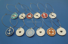Custom round shape ocean theme photo etched design metal wine charm