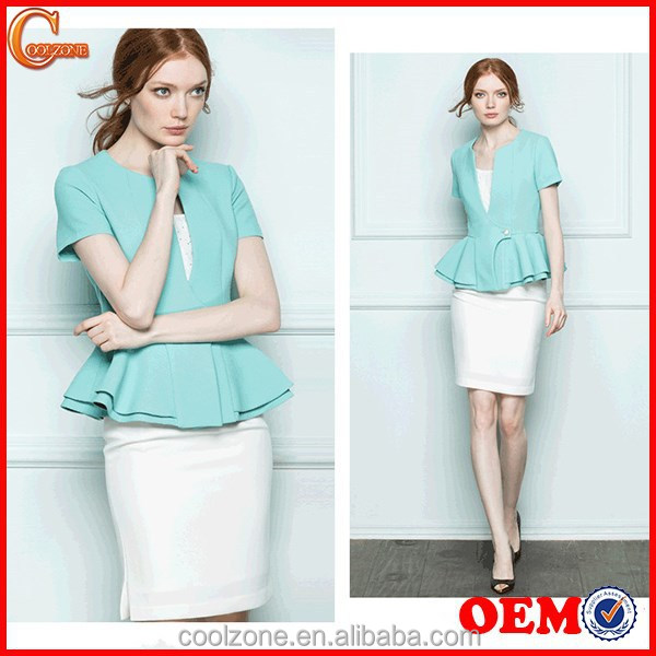 Women summer two pieces business suits office lady uniform