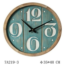 Small round wood clock for wall decor with green painting