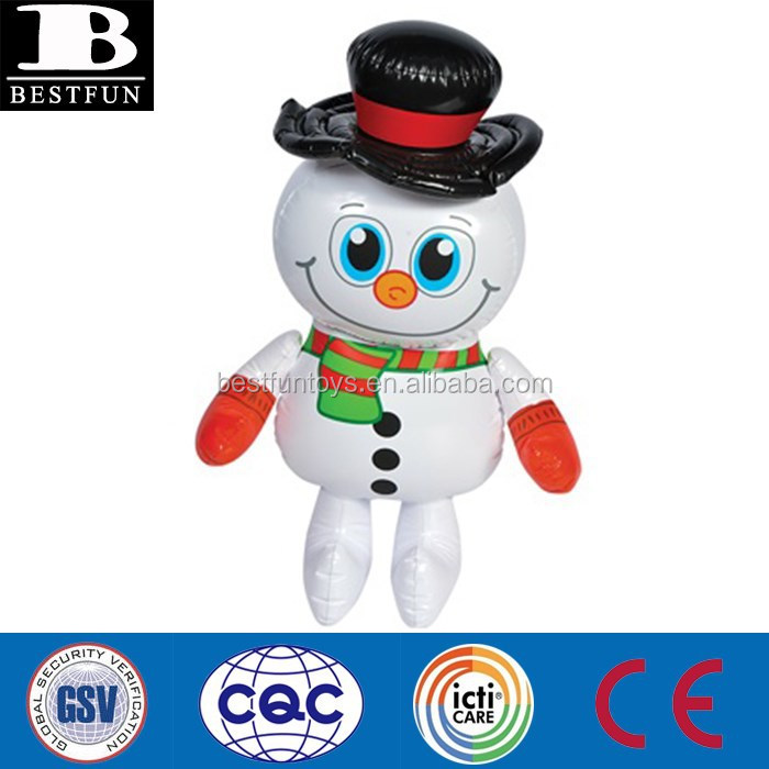 customized Christmas decorations small pvc inflatable snowman plastic toy snowman