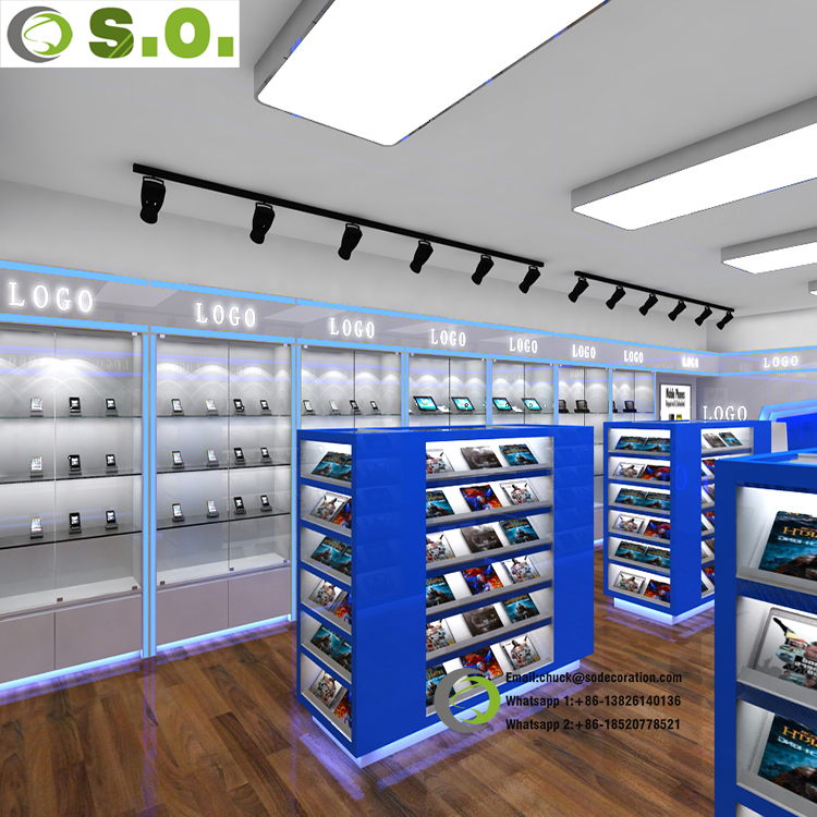 Top fashion mall approved interior decoration mobile phone shop design