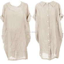 Loose Baggy Style Linen Tunic Dress Italian Lagenlook Short Sleeve Round Collar 2 Pocket Button Back Plain Natural Linen Dress