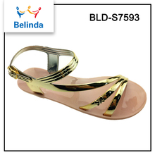 China wholesale women summer gold sandals for flat feet