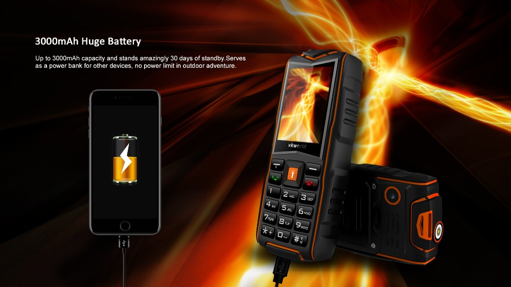 New Style Cell Phone vkworld New Stone V3 2.4 inch Big Sound Big Battery Rugged Outdoor Mobile Phone
