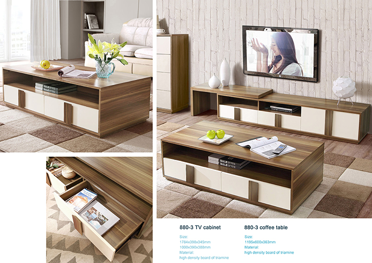 American style wooden living room furniture TV cabinet with drawers