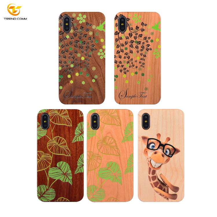 Hot For iPhone X 10 Custom Printed PC Laser Engraving Bamboo Wooden Cell OEM Phone Case
