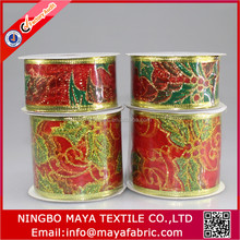 Yiwu factory supply fancy decorating christmas wired deco mesh ribbon