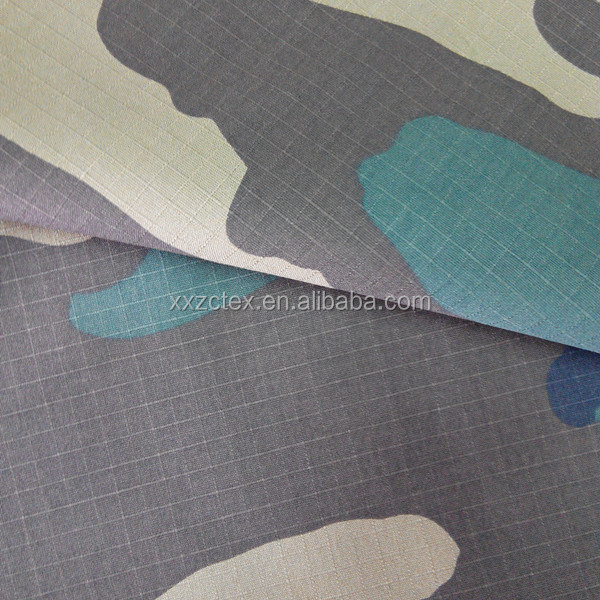 Polyester and cotton blend rip stop camouflage fabric