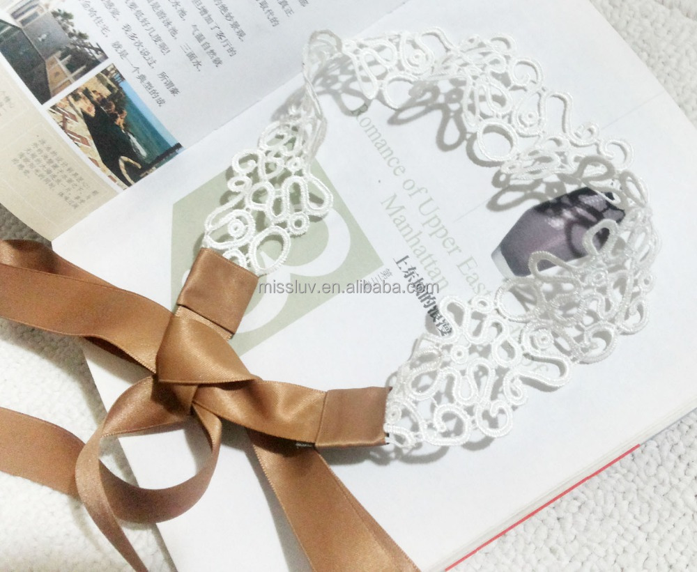 white lace hair band with brown ribbon satin hair accessories white lace elastic headband women