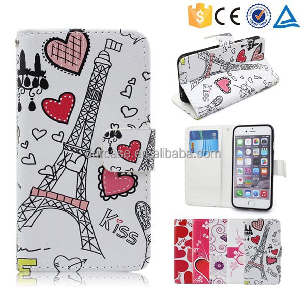 Small MOQ Colorful Eiffel Tower Pattern Wallet Flip Stand Leather Case For BLU DASH JR 3.5 D139(D140)