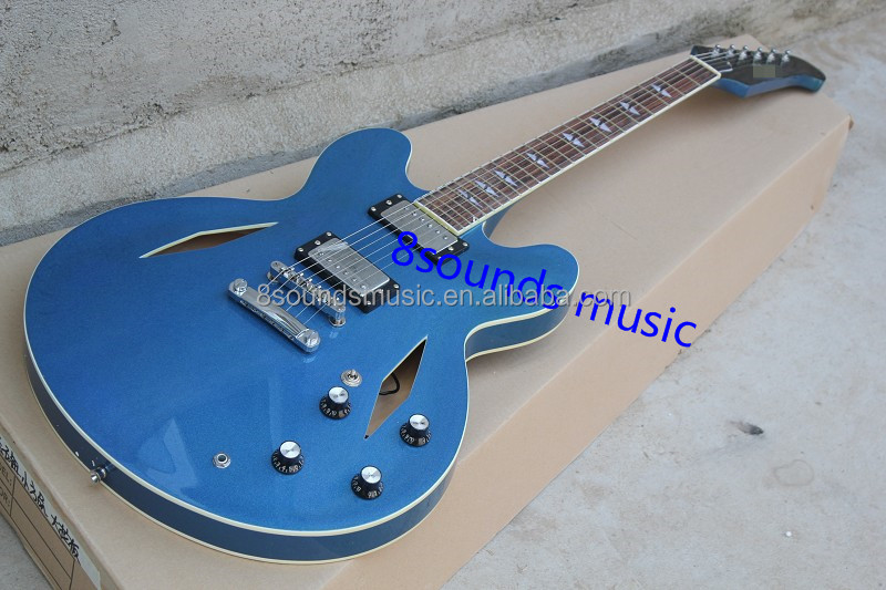 free shipping guitar equipment 335 metal blue color jazz electric guitar hollow body guitar