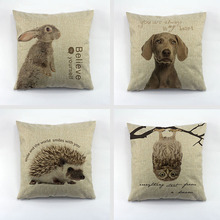 Cheap Printed Cushions Cover Rabbit Dog Hedgehog Owl Pillow Case For Office Chair