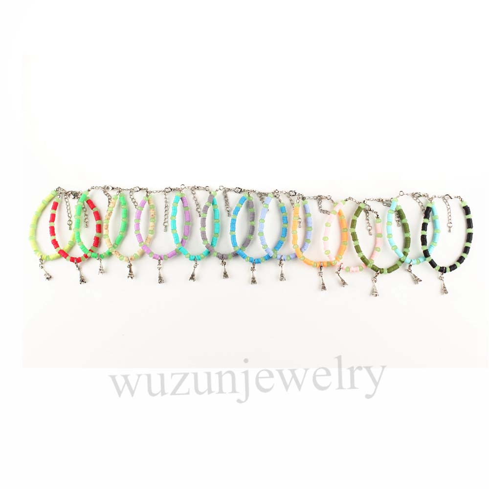 Iron Tower Charms Glass Spacer Beads Soft Ceramics Women's Bracelet