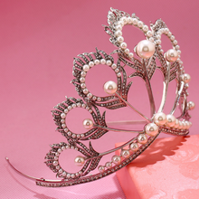 Exquisite style pearls and rhinestones ladies fashion custom pageant crown bridal wedding crown