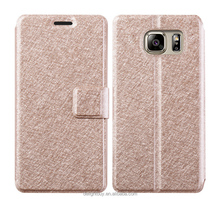 silk PU Leather Case Flip Folio Book Style Phone Case for Samsung Galaxy S7 edge , for s6 edge, for s5