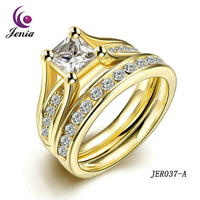 Jenia 2016 Fashion Engagement Ring Titanium Cubic Zirconia Plated Yellow Gold Rings