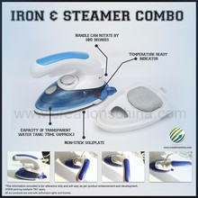 Cheap Portable Compact mini travel steam iron for clothes blue and white non-stick or ceramic 180 degree rotation 800W