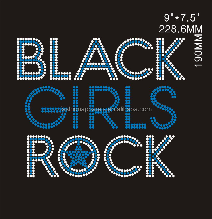 blue and clear black girls rock rhinestone heat transfers designs for t-shirt