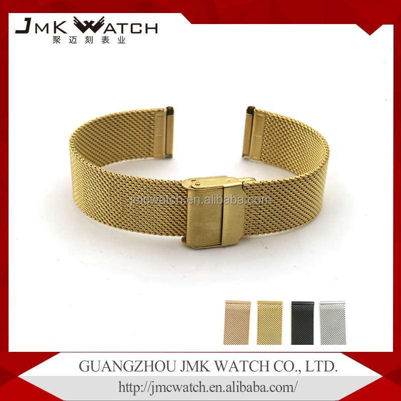06 wire stainless steel mesh with double safety buckle watch strap
