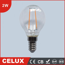 2016 CE CB ROHS 2W E14/E27/B22 Glass LED Filament Ball Blow Lamp Bulb Light