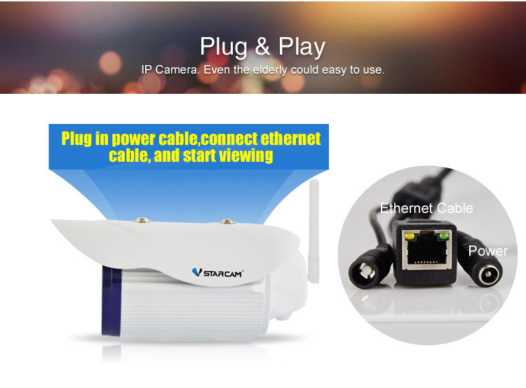 2MP ip camera vstarcam C50S security camera outdoor hd ip66 ip camera view