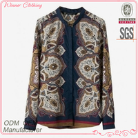 The latest fashion design front open dress blouse with special prints