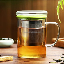 High Quality Premium Handmade Clear Glass Tea Mug Cup with handle Stainless Steel Infuser Lid for Loose Tea 400ml