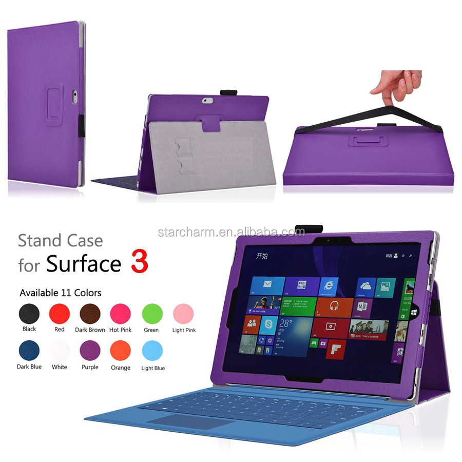 Protective pu leather stand covers tablet covers for Microsoft surface 3