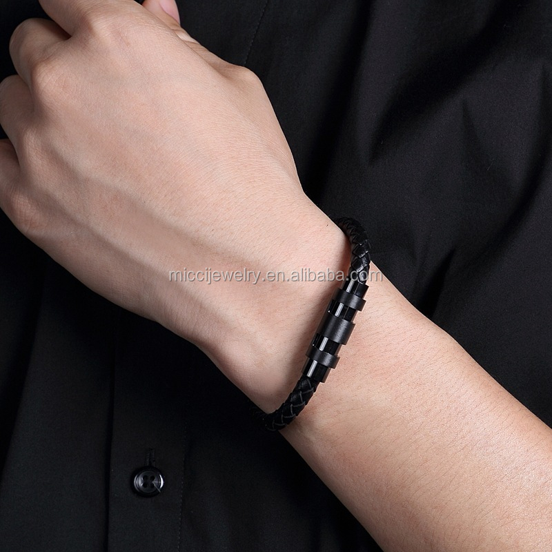 Customized popular luxury stainless steel adjustable mens leather braided rope wire bracelet