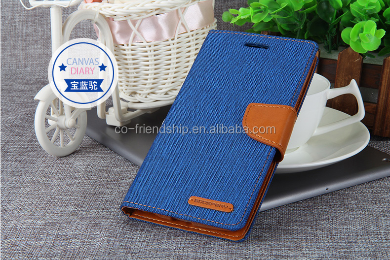 mercury goospery canvas diary wallet leather case, tpu cover case for HTC desire 626s
