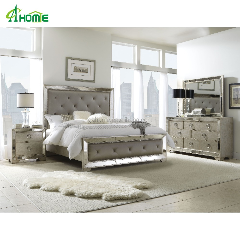 Golden Series Antique Classic Living Room Mirrored Furniture Collection With Pair Of Bedside