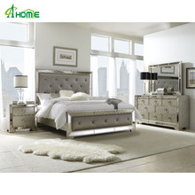 Golden Series Antique Classic living room Mirrored Furniture Collection with pair of bedside table , cabinet and mirror