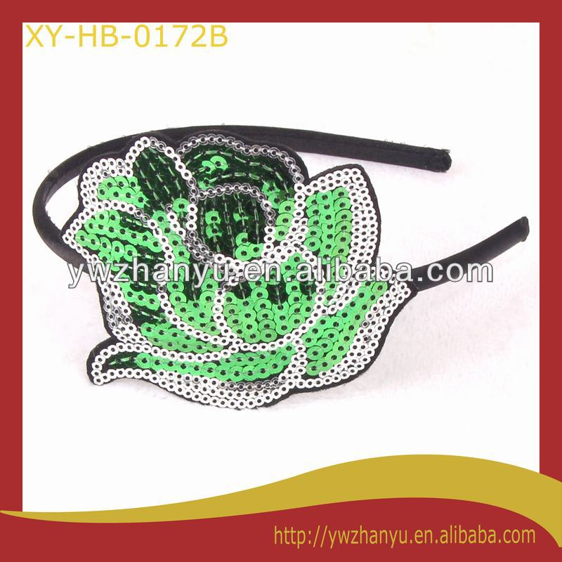 fashion green sequin rose flower hairband women hair accessory