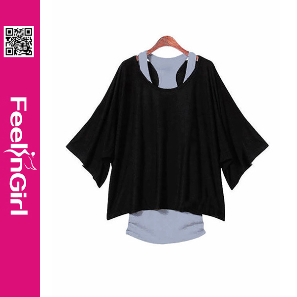 Wholesale cheap 2 pieces ladies loose plain black crop top women