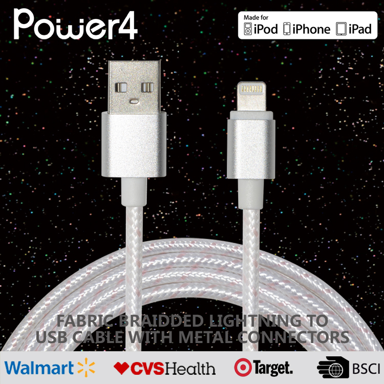 3Ft Nylon Braided Charging Cable Data & Sync Charging Cord 8-Pin Connector to USB Cable Charger