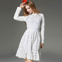 Long sleeve white lace adorable dress of chinese fashion dress manufacturers
