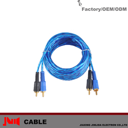 Great Sound Quality 2rcas 5m Blue Flexible RCA Cable For Speaker