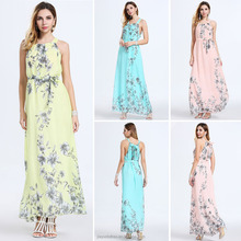 2016 latest women fashion simple summer long dress sleeveless with floral printed sexy prom dress long