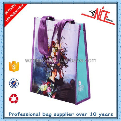 custom recycled pp woven shopping bag with laminated