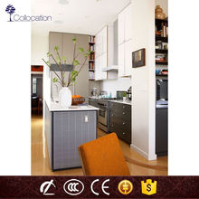 2015 China new model cupboard design 18mm mdf wood modern small white kitchen cabinet with pvc membrane