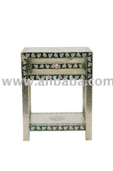 Embossed White Metal Bedside Table Buy White Metal Furniture Product On
